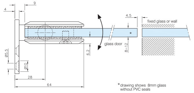 Glass Swing Door Hinge - Glass Mount