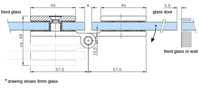 Glass Door D Shaped Hinge - Dimensions and Position