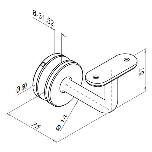 Glass Mount - Flat Support Balustrade Handrail Bracket With Curved Stem - Diagram