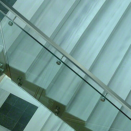 Glass Mount - Flat Support Balustrade Handrail Bracket With Curved Stem - Example