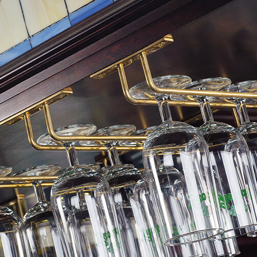 Brass Finish Glass Rack
