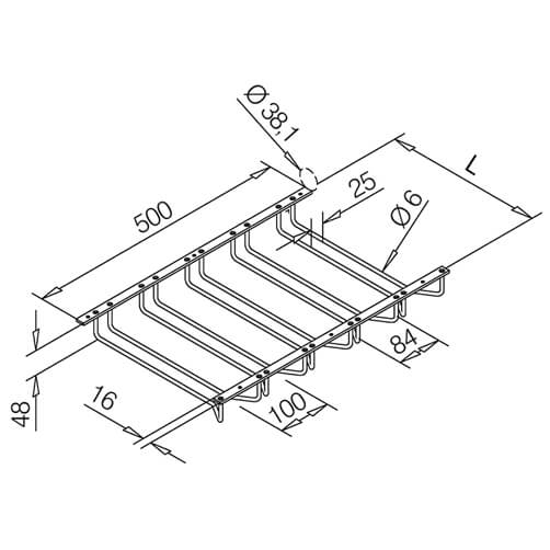 Glass Rack - 5 Column - Dimensions