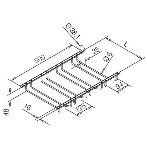 Glass Rack - 4 Column - Dimensions