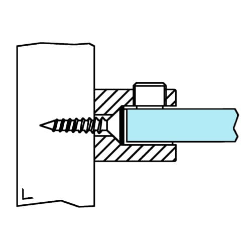 Glass Shelf Support - Round Clamp Design - Position