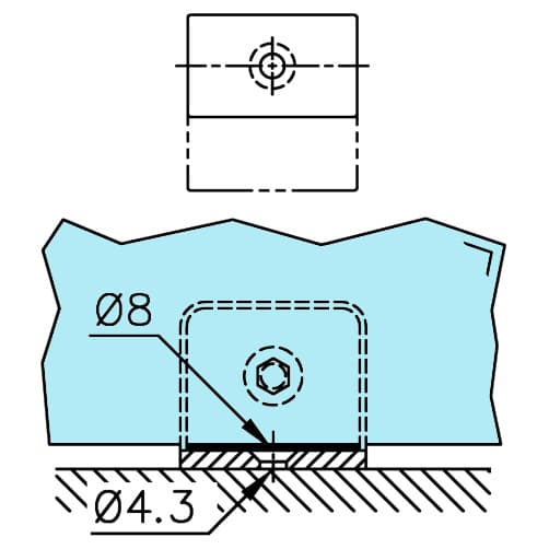 Glass Shelf Support - Square Design - Drilling