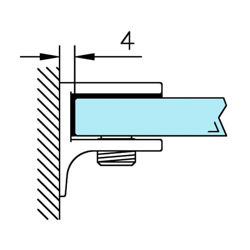 Glass Shelf Support - Square Design - Position
