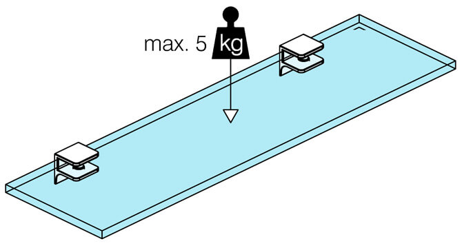 Glass Shelf Support - Square Design Loading