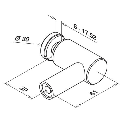 Stainless Steel Glass Adapter-Spider - Flat Mount - Diagram