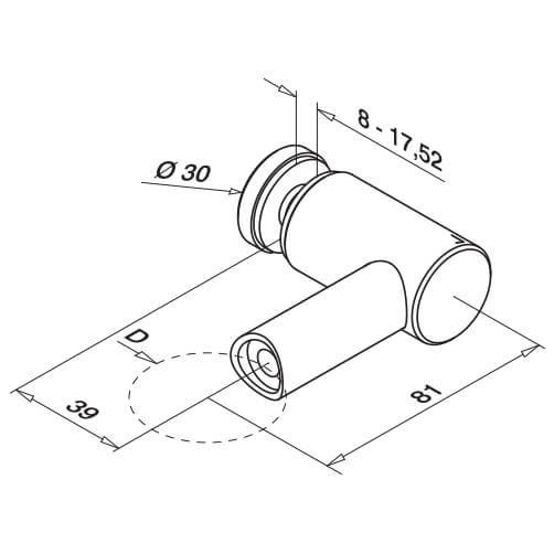 Stainless Steel Glass Adapter-Spider - Tube Mount - Diagram