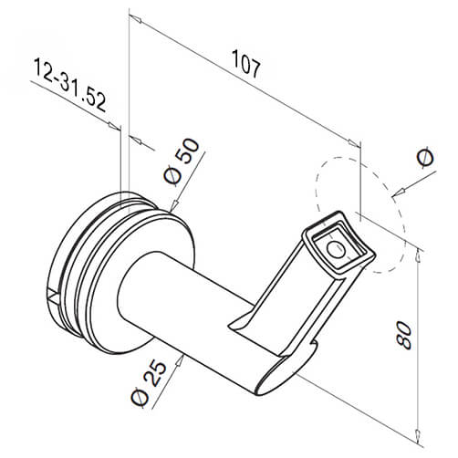 Angled Glass Mount To Tube Support Handrail Bracket For Modular Stainless Steel Balustrade - Diagram