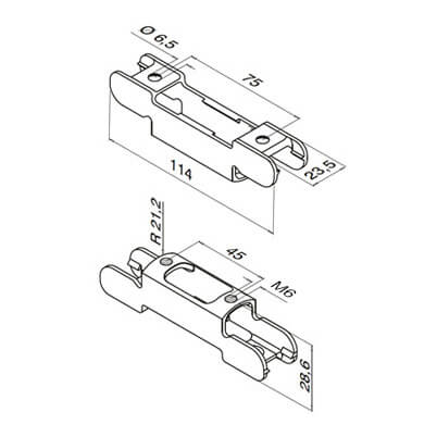 Bracket Adapter for Channel Handrail - Dimensions