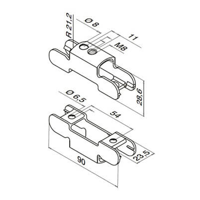 Mounting Adapter for Channel Handrail - Dimensions