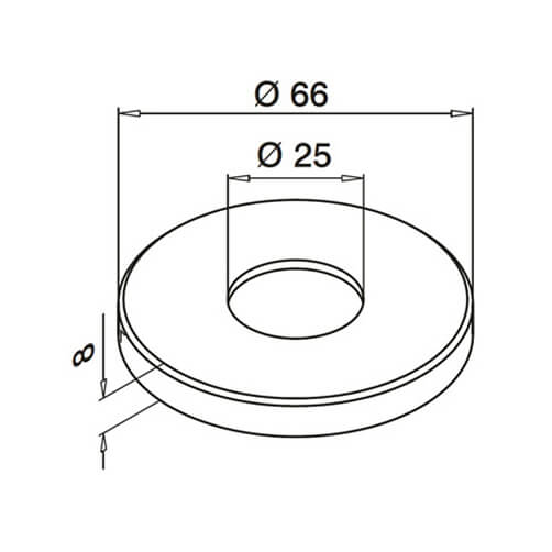 Cover Cap for Flush Fix Handrail Bracket - Dimensions