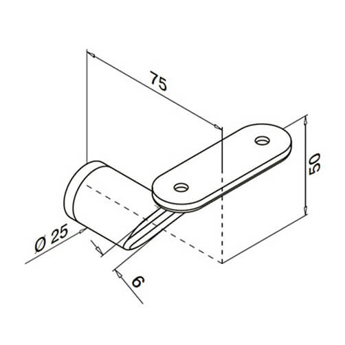 Handrail Bracket - Flat Arm - Flat Mount - Dimensions