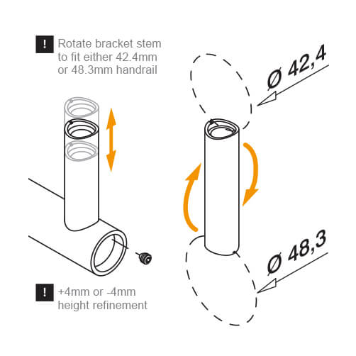 Handrail Bracket Invisible Fix - Tube to Tube Mount - Information