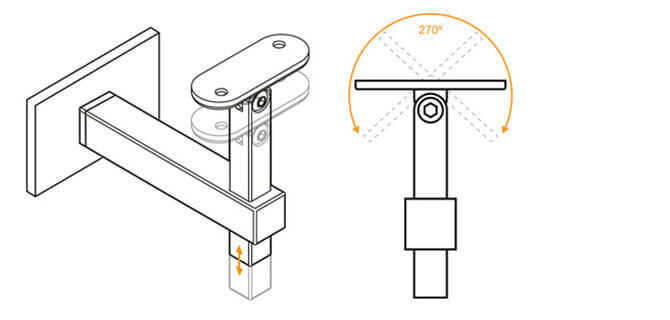 Handrail Bracket - Square Profile - Adjustment