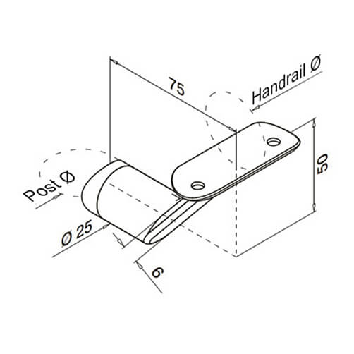 Handrail Bracket - Flat Arm - Tube Mount - Dimensions