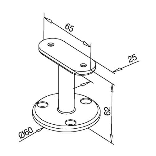 Handrail Support - Flat - Modular Stainless Steel Balustrade - Diagram