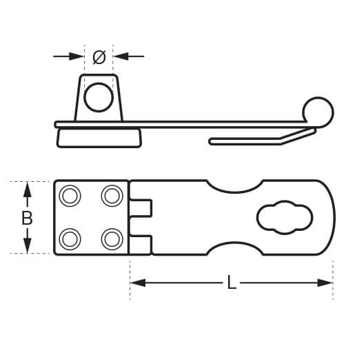 Swivel Hasp and Staple - Dimensions