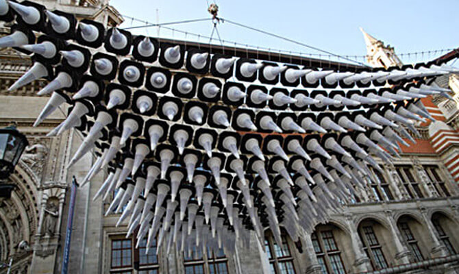 Heatherwick Studios at the V&A - Lifting The Traffic Cone Installation Into Place