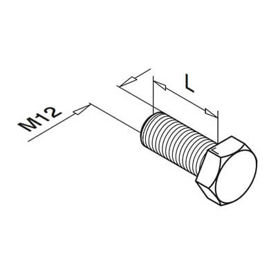 Stainless Steel Threaded Bolt - Hexagon Head- Dimensions