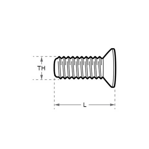 Stainless Steel Countersunk Hex Head Screw - Dimensions