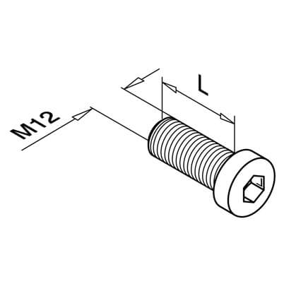Hexagon Socket Head Cap Screw - M12 Thread - Dimensions