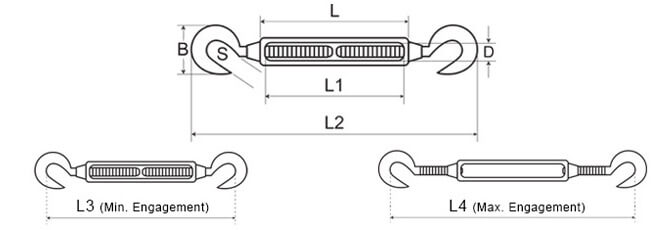 Open Body Turnbuckle, Hook to Hook - Dimensions