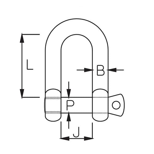 High Resistance Stainless Steel D Shackle - Diagram