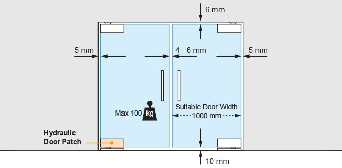 Hydraulic Glass Door Patch - Position