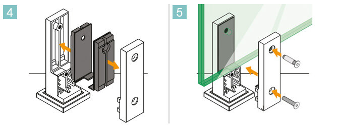 Square In-Floor Mounting Base Glass Clamp Installation Procedure 4 and 5