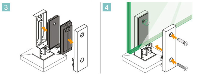 Square Floor Mounting Base Glass Clamp Installation Procedure 3 and 4