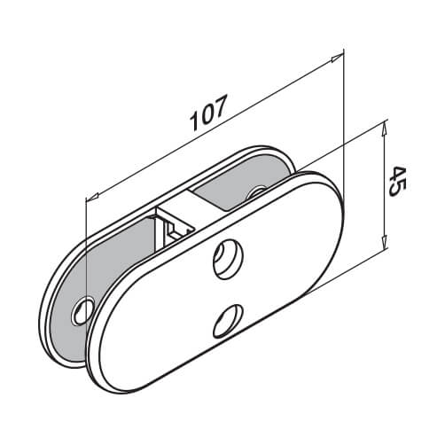 In-Line D Shaped Glass Connector - Dimensions