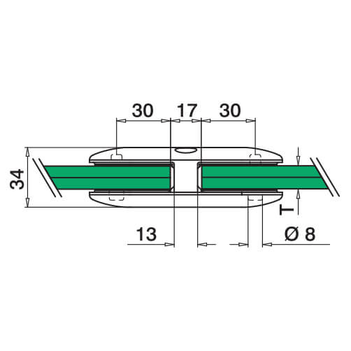In-Line D Shaped Glass Connector - Diagram
