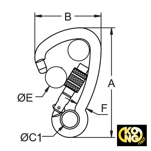 Kong Carbine Hook Asymmetric Screw Lock Diagram