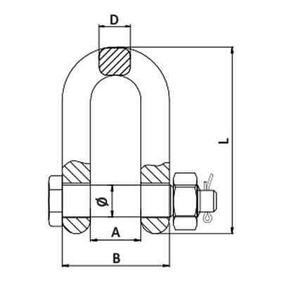 Lifting Chain D Shackle - Grade 80 - Dimensions