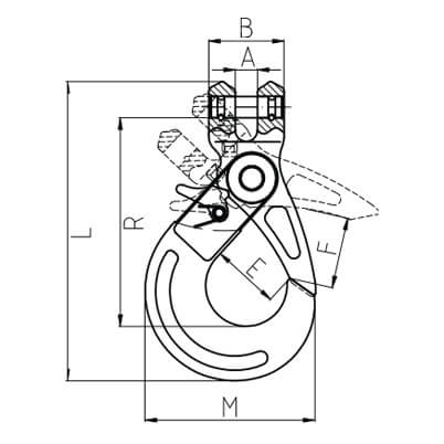 Clevis Hook - Self Locking - Dimensions