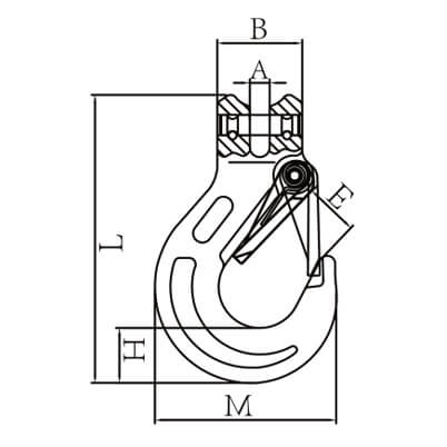 Clevis Sling Hook with Latch - Dimensions