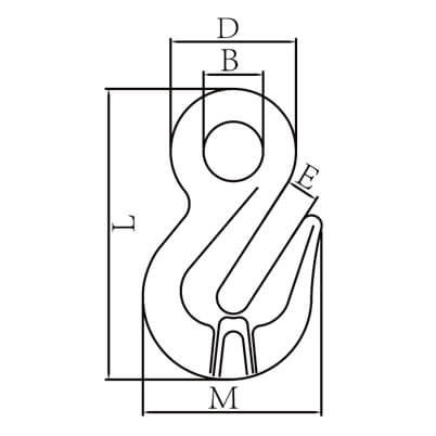 Lifting Eye Grab Hook - Grade 100 - Dimensions