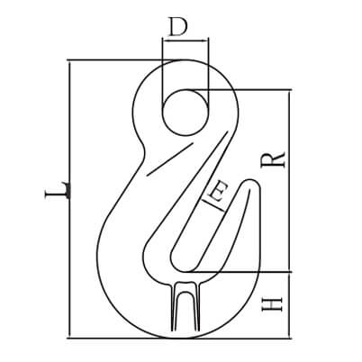 Lifting Eye Grab Hook - Grade 80 - Dimensions