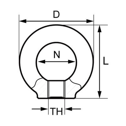 Lifting Eye Nut - Grade 80 - Dimensions