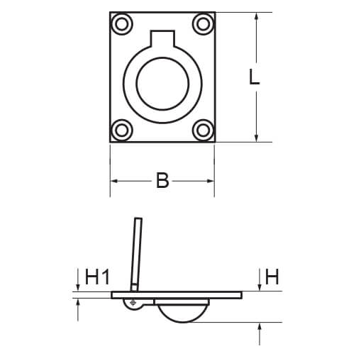 Small Ring Pull Lift Handle - Dimensions