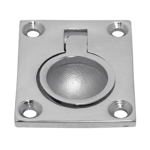 Small Ring Pull Lift Handle - Rectangular Plate
