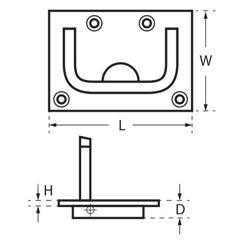 Long Lifting Handle - Dimensions
