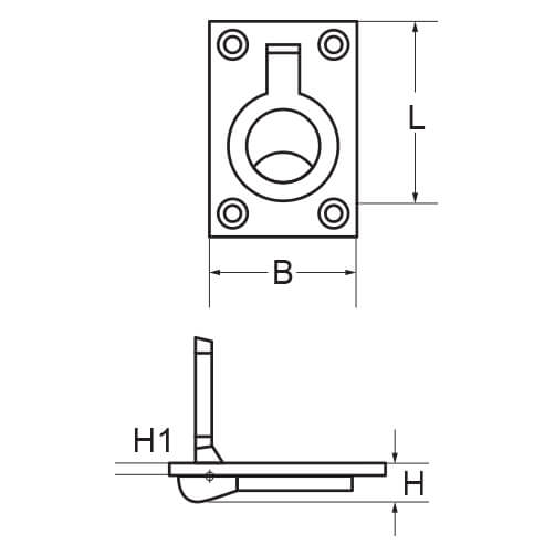 Ring Pull Lift Handle - Dimensions