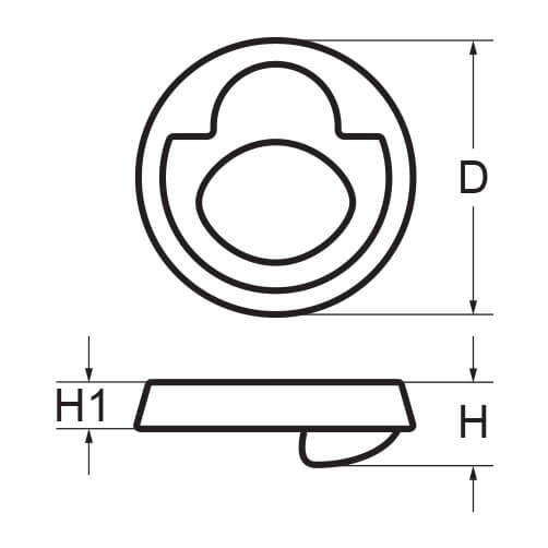 Ring Pull Lift Handle - Round - Dimensions