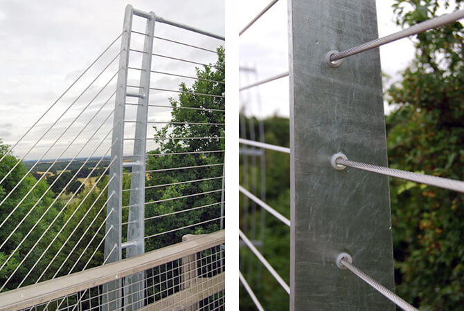 Stainless Steel Safety Wires Passing Through Uprights