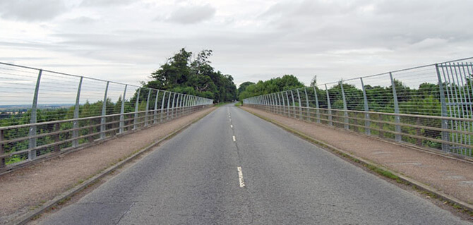 Safety Balustrade On The Lincoln A46 Bridge
