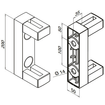 Linear Line Baluster Mounting Bracket - Dimensions