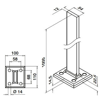 Linear Line Baluster Post - Dimensions